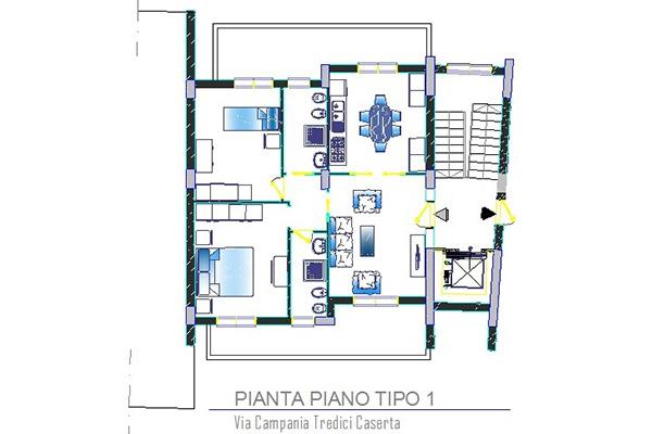 Pianta Tipo 1 appartamento in parco di nuova costruzione in vendita a Caserta frazione Tredici